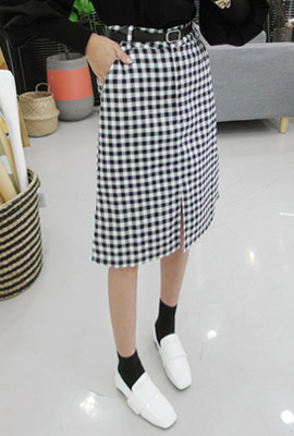 Checked Midi skirt set