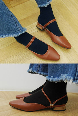Two Way Leather Flat Shoes