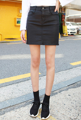 Simple Slim Leather Skirt (2nd stock)