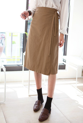 Basic Midi Wrap Skirt