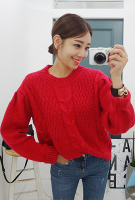 Puff sleeves knit tee (3 pieces stock)