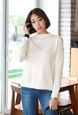 Half neck rolling knit tee