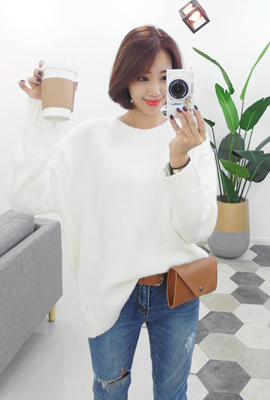 Simple round color knit tee (52 car stock)