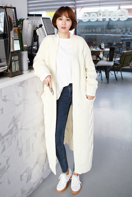 Knit long cardigan with fleece pockets