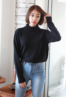 Half neck color knit tee (second stock)