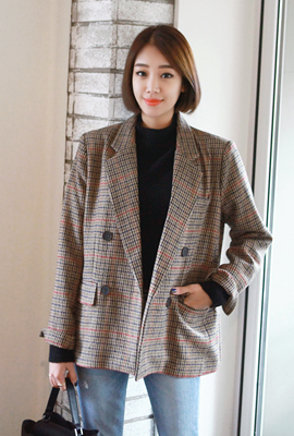 Double button colored check jacket
