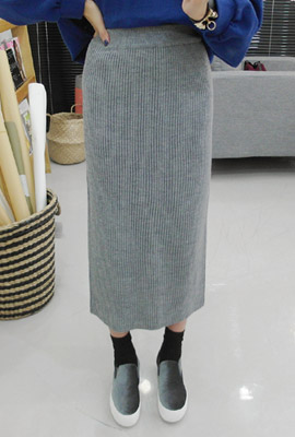 Full-length knit long skirt (9th stock)