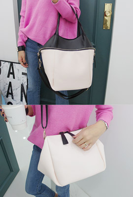Fake zipper leather shoulder bag