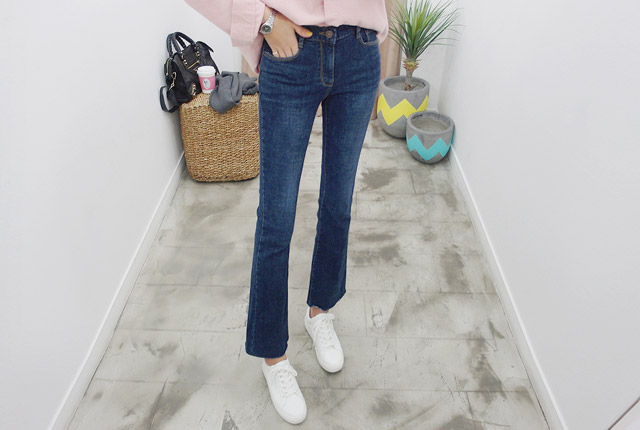 Brushed cutting boots cut denim pants (stock of 99 cars)
