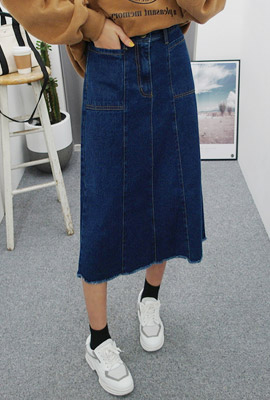 Pocket Stitch Denim Long Skirt