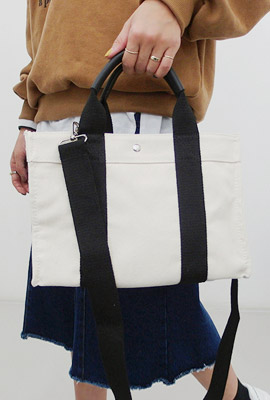 Two-line color cotton shoulder bag