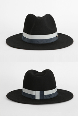Two-color line wool Fedora