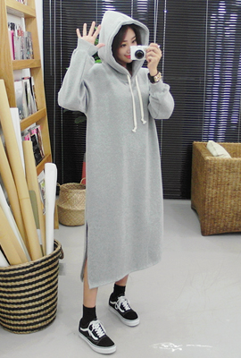 Double slit brushed hood dress (3rd stock)