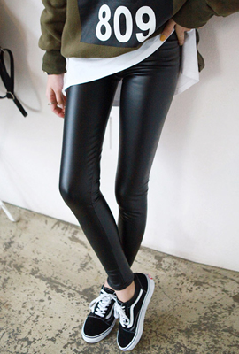 Brushed leather brushed leggings (9th stock)