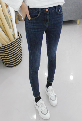 Baihao brushed skinny jeans