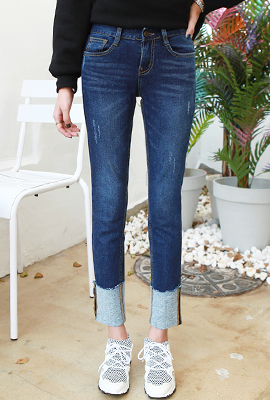 Brushed roll Date denim pants (second stock)