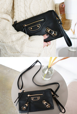 Leather Motor Clutch Bag