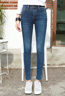 Clear Blue brushed skinny jeans