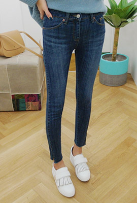 Slit brushed skinny jeans (second stock)