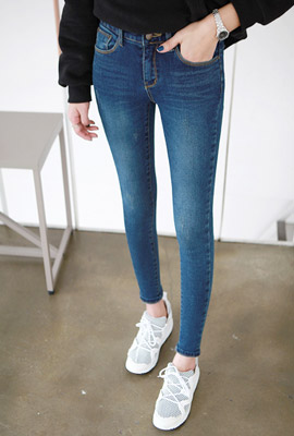 Charming blue brushed skinny jeans