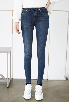 Super slim brushed skinny jeans