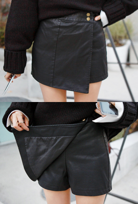 Fake Button Leather Skirt Pants