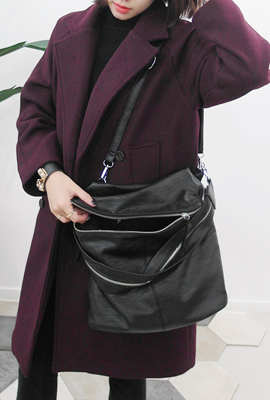 Daily Leather Zipper Shoulder Bag