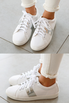 Silver Line Leather Sneakers
