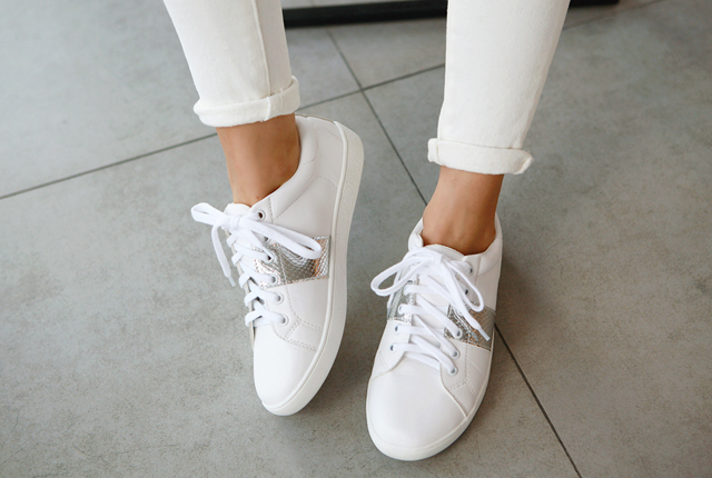 Silver Line Leather Sneakers (2nd stock)