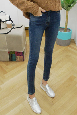 Blue-washed brushed skinny jeans (second stock)