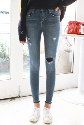 Damage Patch Slim Skinny Jean