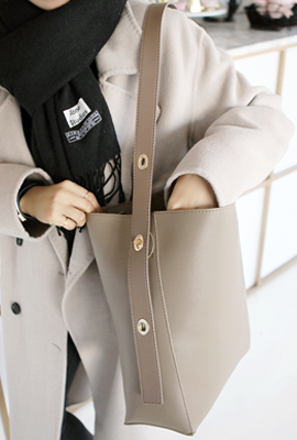Plain leather shoulder bag