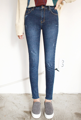 Simple hemp brushed skinny jeans