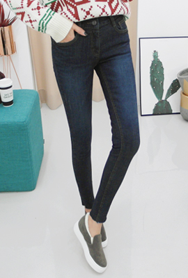Cutting span brushed skinny jeans