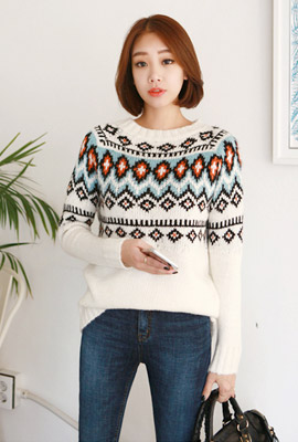 Color pattern mix knit tee