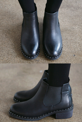Stud Leather Ankle Boots