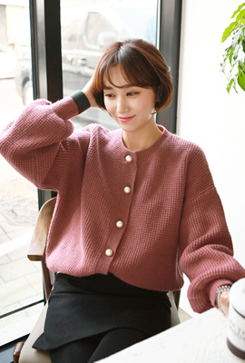 Pearl button balloon cardigan (second stock)