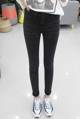 Brushed cutting skinny jeans (second stock)