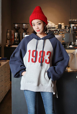 1983 Colored brushed hooded tee