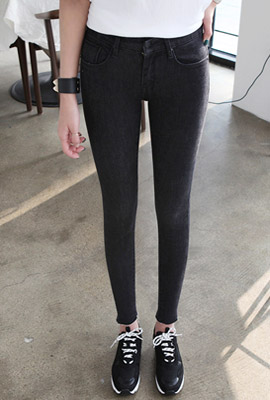 Slim brushed cutting skinny jeans