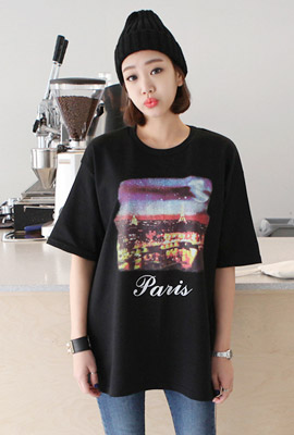 Paris printing short sleeve tee (second stock)