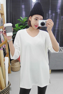 U-neck brimmed short sleeved tee (second stock)
