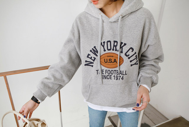New York rugby brushed hoodie (12th stock)