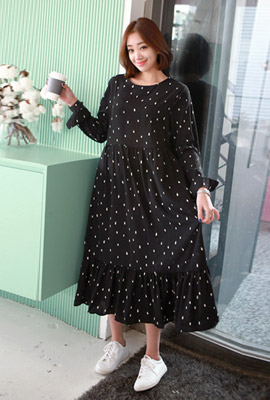 Dot Long ruffle dress (7th stock)