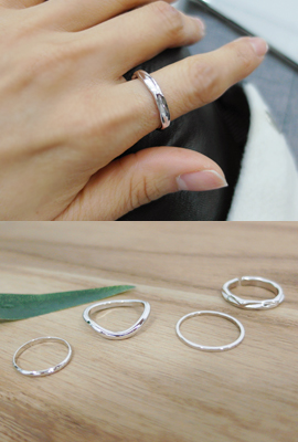 Wave layered ring set