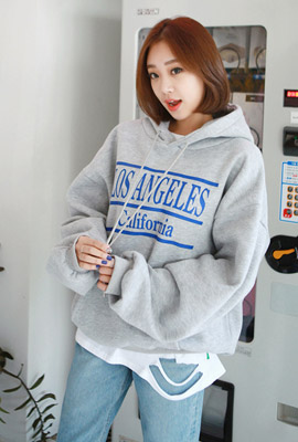 Los Angeles brushed hooded tee
