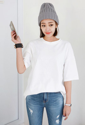 Pitch brushed hem long sleeved tee