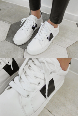 Color color leather sneakers