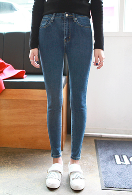 Simple slim brushed skinny jeans (second stock)