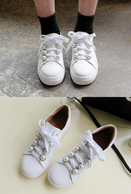 Pearl Leather Sneakers